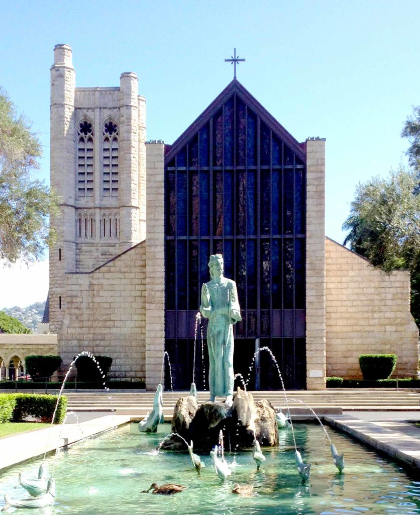 photo: Fountain and front entrance of The Cathedral of St. Andrew in Honolulu, Hawaii. (photo: Marlin Ouverson, ExternalDesign.com)