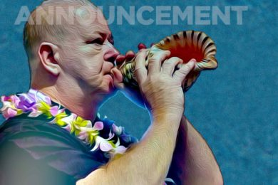 """artwork for announcements: John blowing the conch shell (""""pu"""")."""