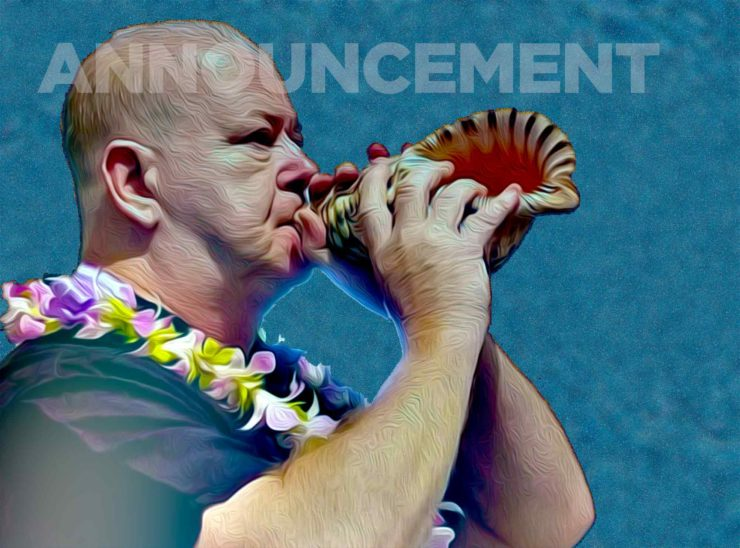 "artwork for announcements: John blowing the conch shell (""pu"")."