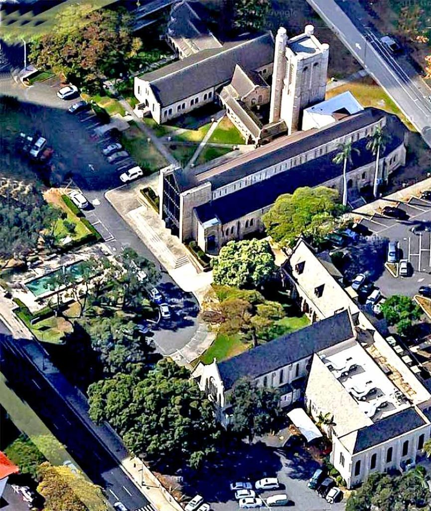 photo: aerial view of The Cathedral of St. Andrew (Honolulu, Hawaii)