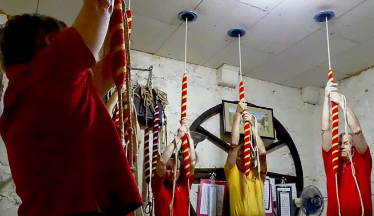 photo: St. Andrews bell-ringing society at the pull ropes.