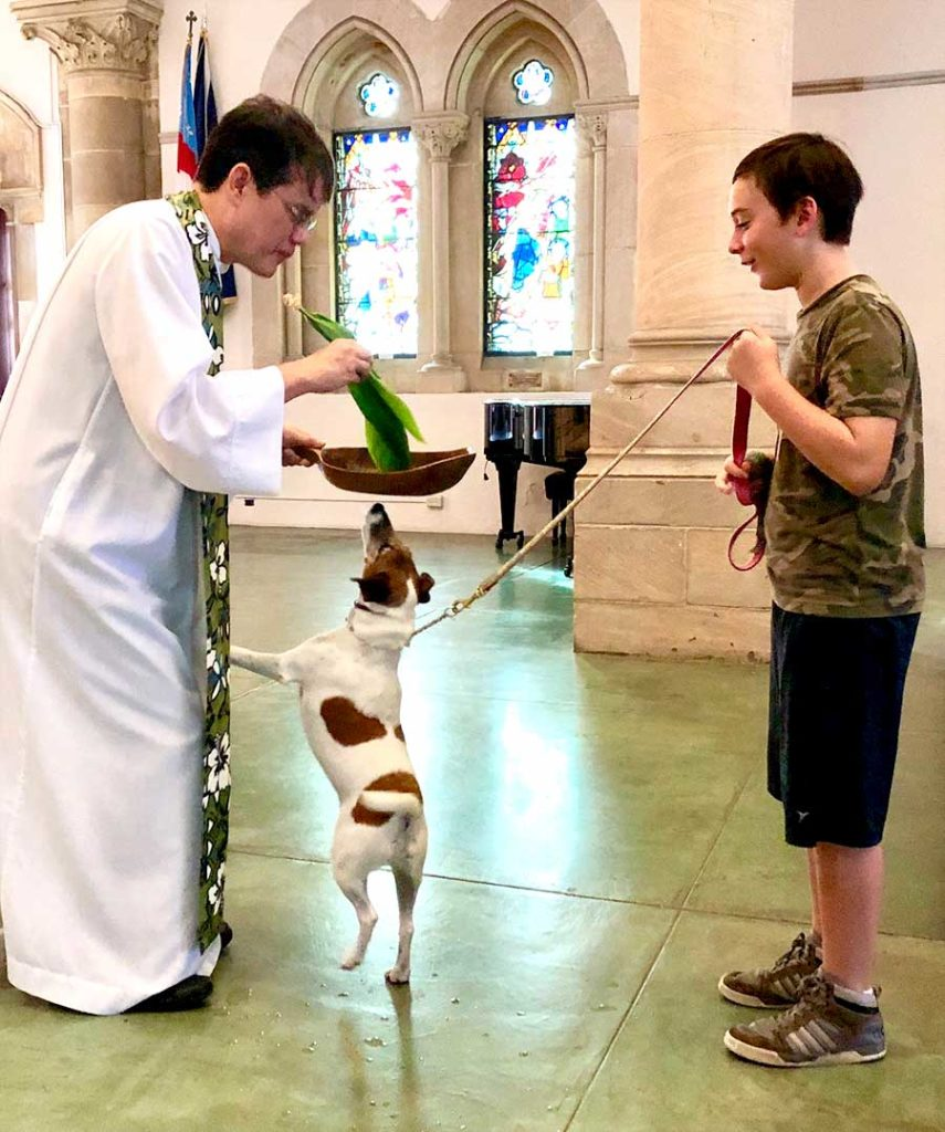 photo: a boy and his dog with Father Moki for the Blessing of the Animals