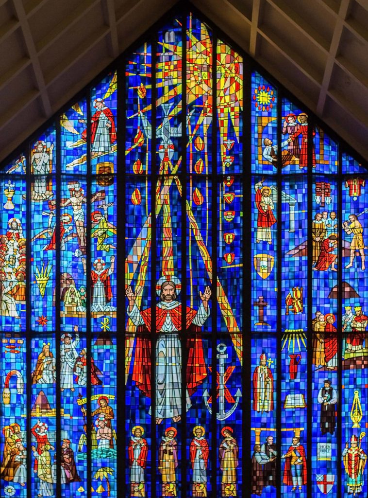 photo: the great West Window - stained glass; photo by S Anderson (2017)