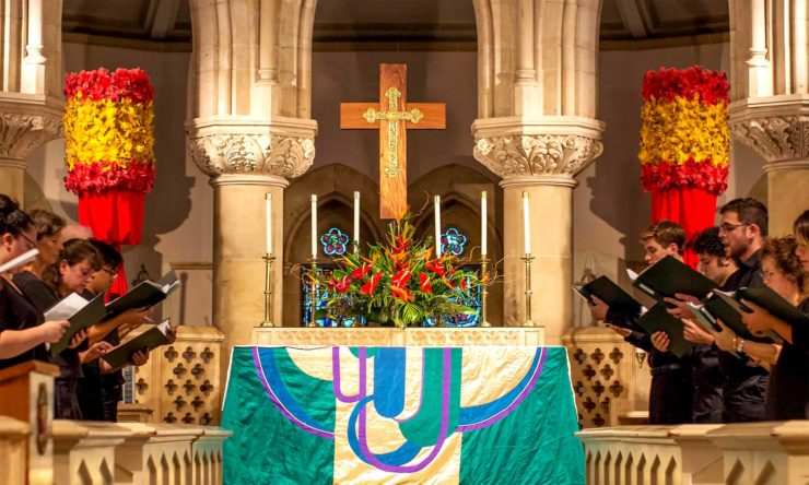 photo: Cathedral altar and quire area, with choir present